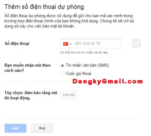 Thêm số điện thoại dự phòng xác minh 2 bước Gmail