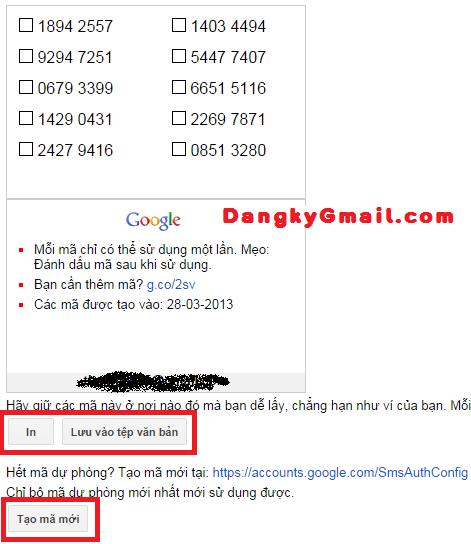 Tạo mã dự phòng xác minh 2 bước Gmail