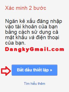 Bật xác minh 2 bước cho Gmail