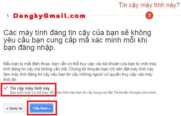 Thiếp lập máy tính tin cậy không yêu cầu xác minh 2 bước Gmail