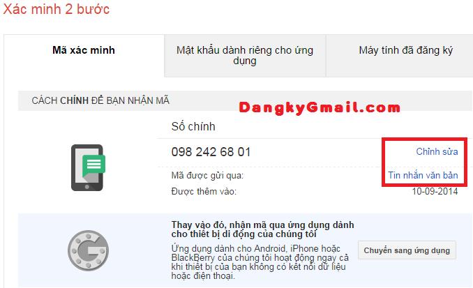 Thay đổi số điện thoại chính, cách thức gửi mã xác nhận xác minh 2 bước Gmail
