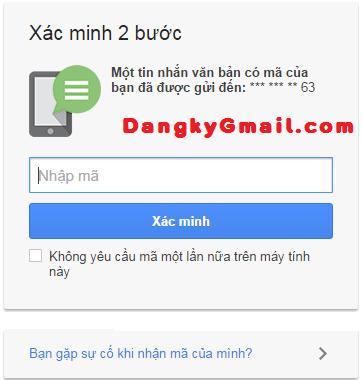 Tính năng xác minh 2 bước của Gmail