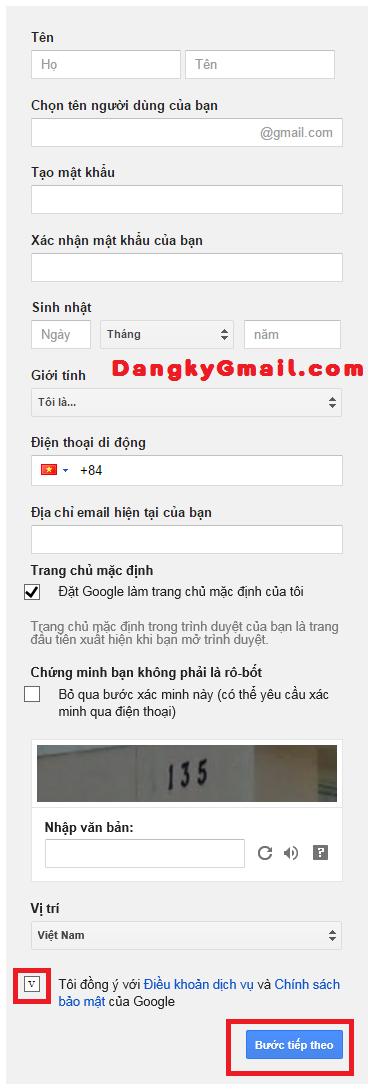 Nhập thông tin đăng ký Gmail