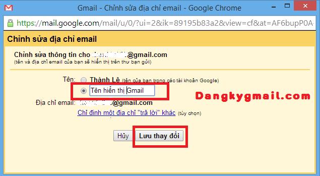Đôi tên hiển thị trên Gmail