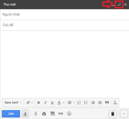 Cửa sổ soạn thư nhanh của Gmail