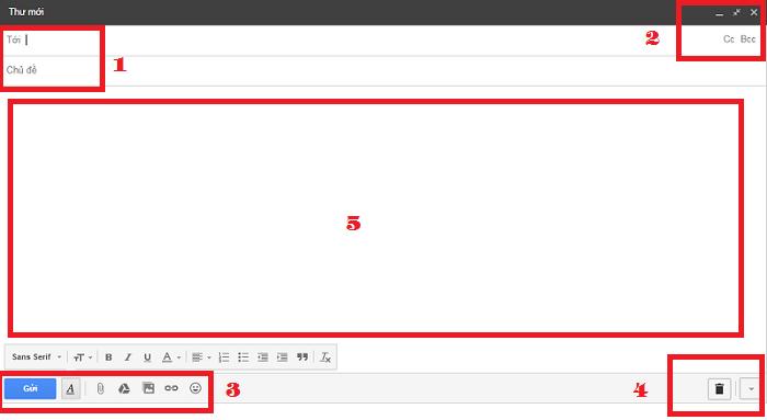 Cửa sổ soạn thư gửi đi của Gmail