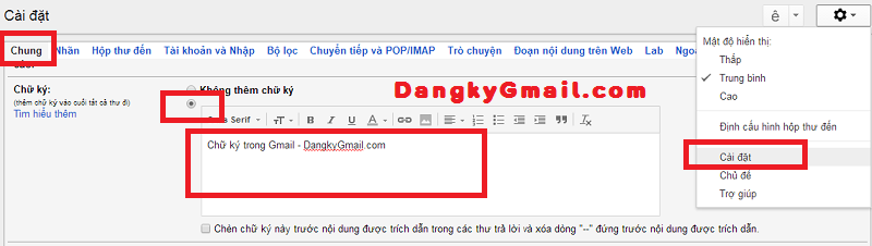 Tạo chữ ký trong thư gửi đi với Gmail