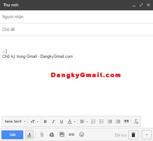 Chữ ký trong thư gửi đi với Gmail