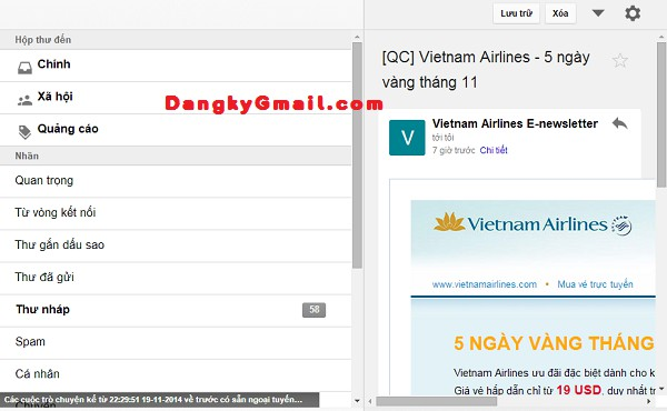 Giao diện Gmail ngoại tuyến