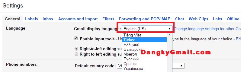 Cách thay đổi ngôn ngữ Gmail
