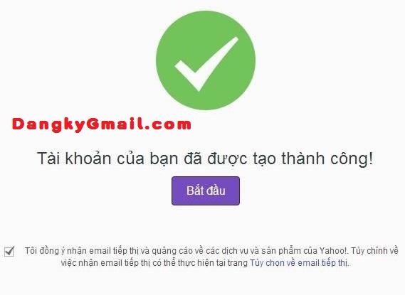 Tạo Yahoo mail thành công