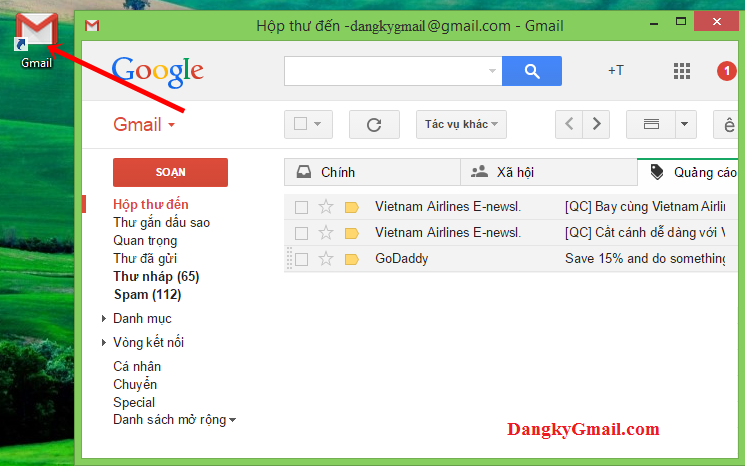 Giao diện ứng dụng Gmail trên máy tính