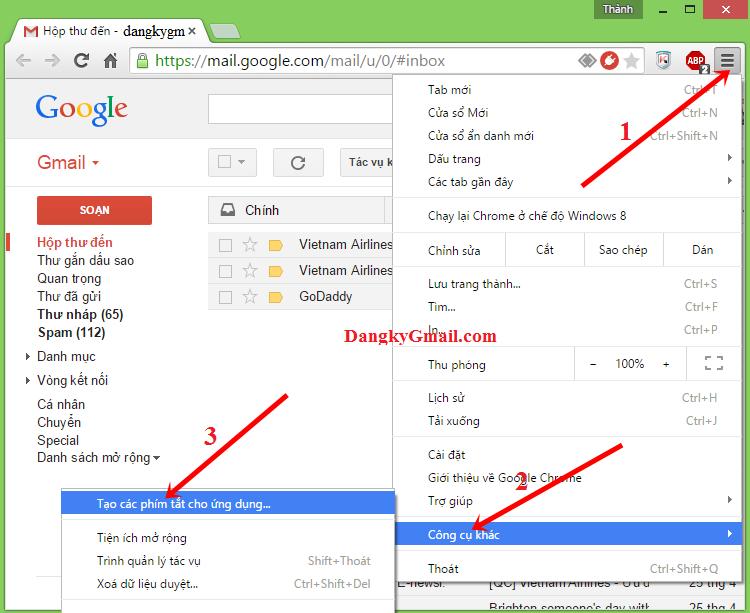 Cách tạo ứng dụng Gmail trên máy tính