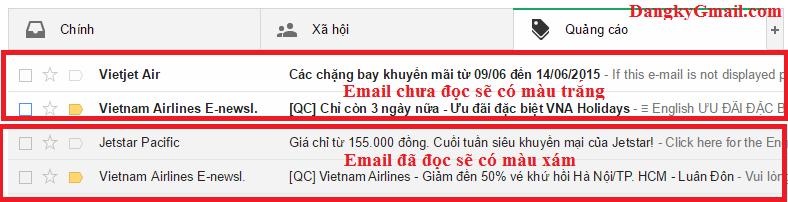 Cách phân biệt email chưa đọc và đã đọc trong Gmail