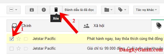 Cách xóa từng email trong Gmail