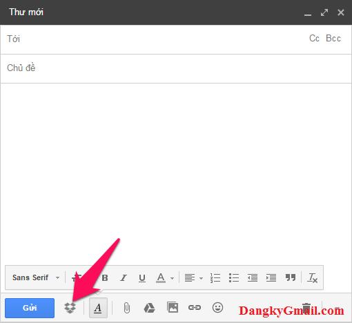 Cách đính kèm tập tin trên Dropbox vào Gmail