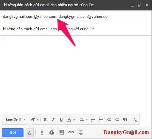 """Nhập các email vào khung Người nhận (Tới) ngăn cách nhau bằng dấu phẩy """","""""""