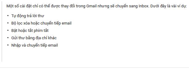 Cài đặt trong Gmail sẽ chuyển sang Inbox