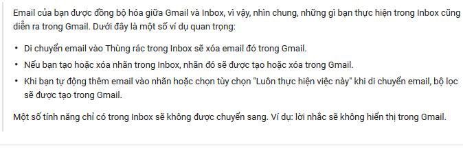 Các tác vụ trên Inbox sẽ ảnh hưởng đến Gmail